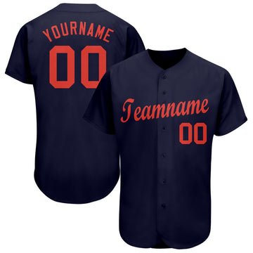 Custom Navy Orange Baseball Jersey