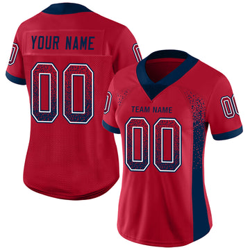 Custom Red Navy-White Mesh Drift Fashion Football Jersey - Jersey
