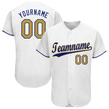 Custom White Old Gold-Royal Baseball Jersey