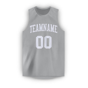 Custom Gray White Round Neck Basketball Jersey