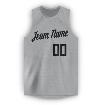 Custom Gray Black Round Neck Basketball Jersey