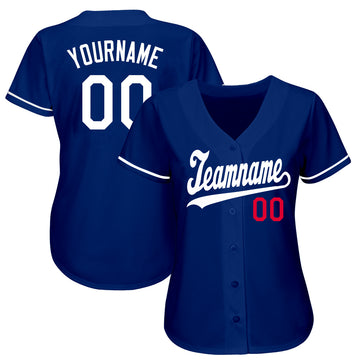 Custom Royal White-Red Baseball Jersey - Jersey