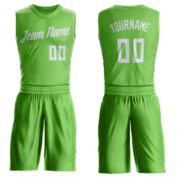 Custom Neon Green White Round Neck Suit Basketball Jersey