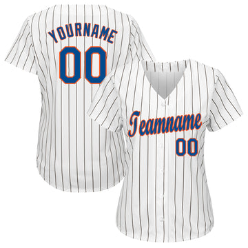 Custom White Royal Strip Royal-Orange Baseball Jersey