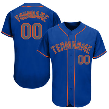 Custom Royal Gray-Orange Baseball Jersey - Jersey