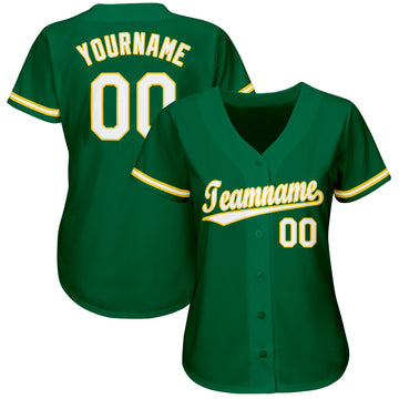 Custom Kelly Green White-Gold Baseball Jersey