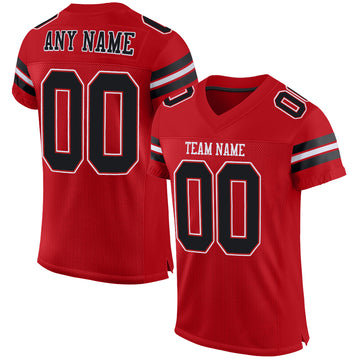Custom Red Black-White Mesh Authentic Football Jersey