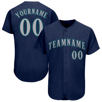 Custom Navy Gray-Aqua Baseball Jersey
