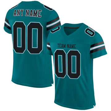 Custom Teal Black-White Mesh Authentic Football Jersey