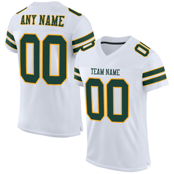 Custom White Green-Gold Mesh Authentic Football Jersey