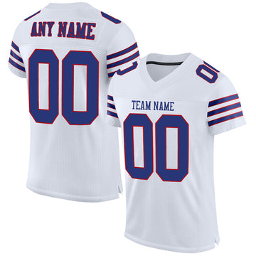 Custom White Royal-Red Mesh Authentic Football Jersey
