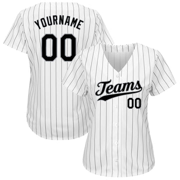 Custom White Black Strip Black-Gray Authentic Baseball Jersey