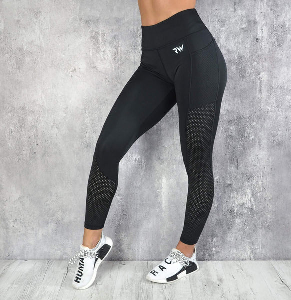 RapidWear - Mesh Panel Leggings (Sort)