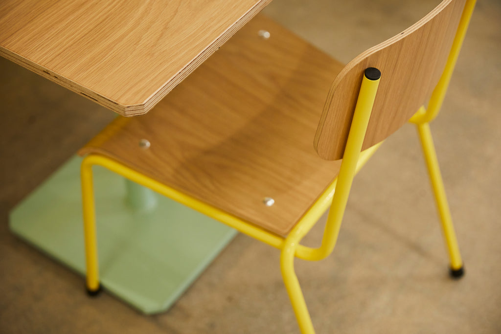 RAD Furniture White Oak School Chair and Cafe Table