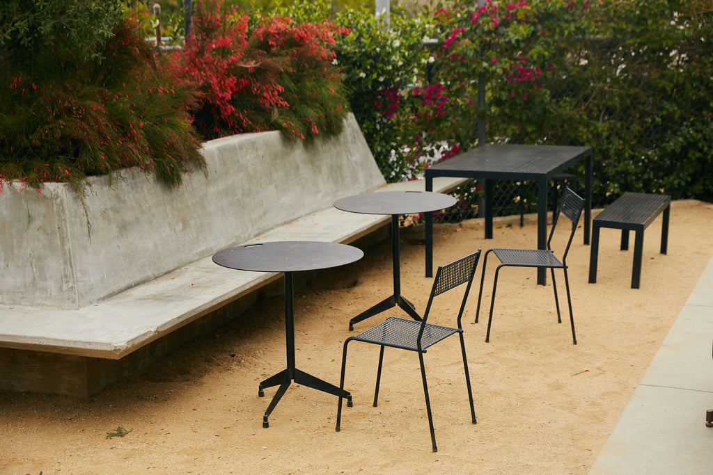 aluminum and steel outdoor furniture at a cafe and coffee shop
