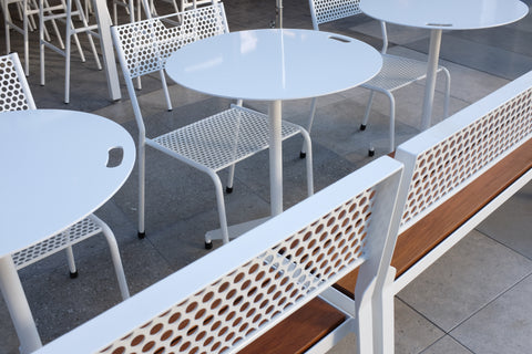 RAD Furniture Sweetgreen Cafe Chair Cafe Table Century City Los Angeles Steel Teak
