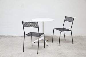 RAD Furniture's Round Aluminum-Top Cafe Table for Two with Cafe Chairs