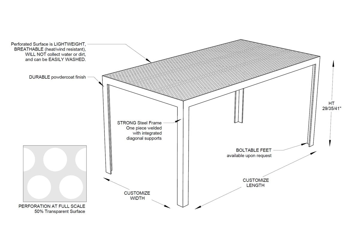 RAD Furniture's Perforated Dining Table Diagram