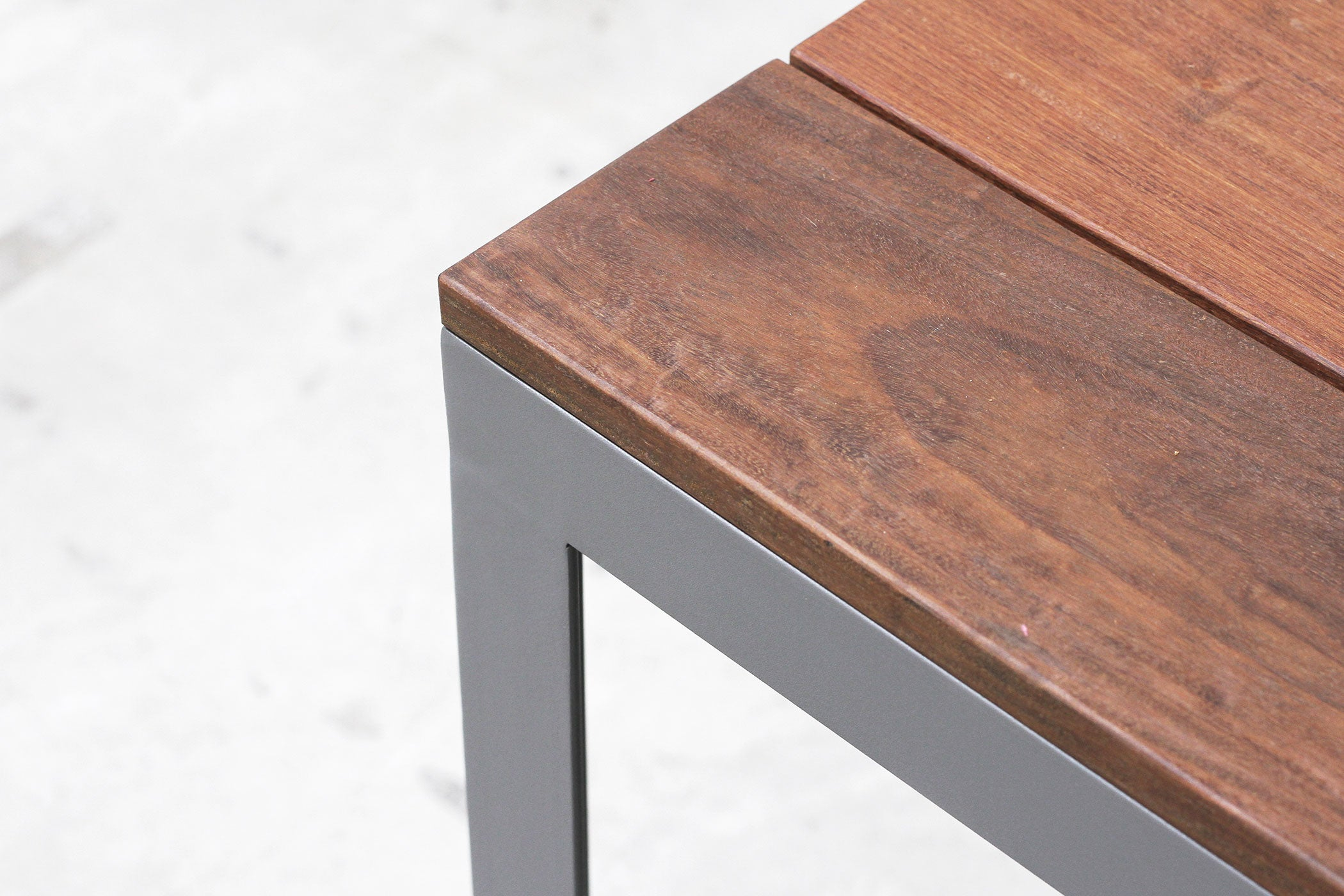 RAD Furniture's Slatted Wood Square Cafe Table - detail