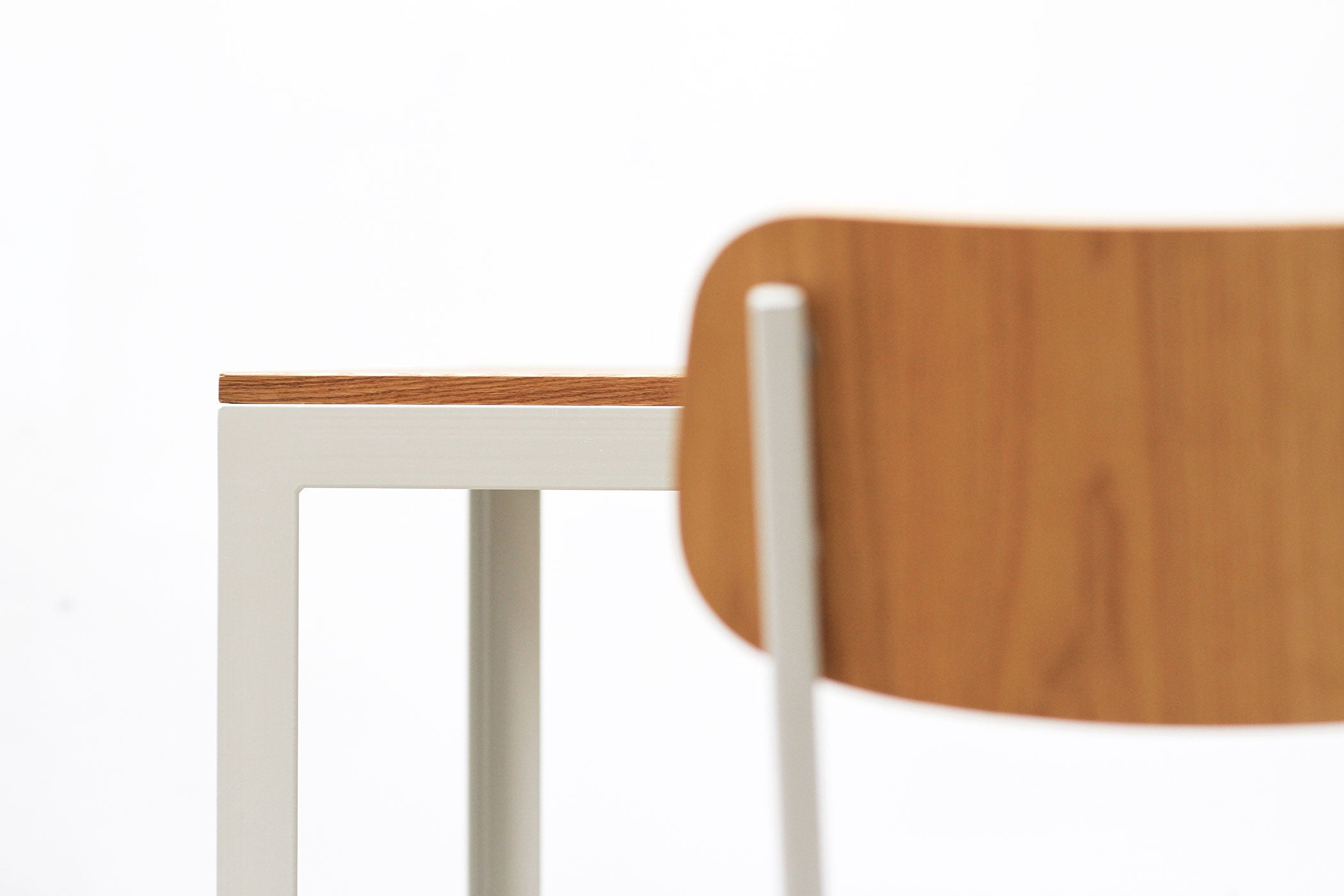 RAD Furniture's Solid Wood-top Cafe Table - detail with School Chair