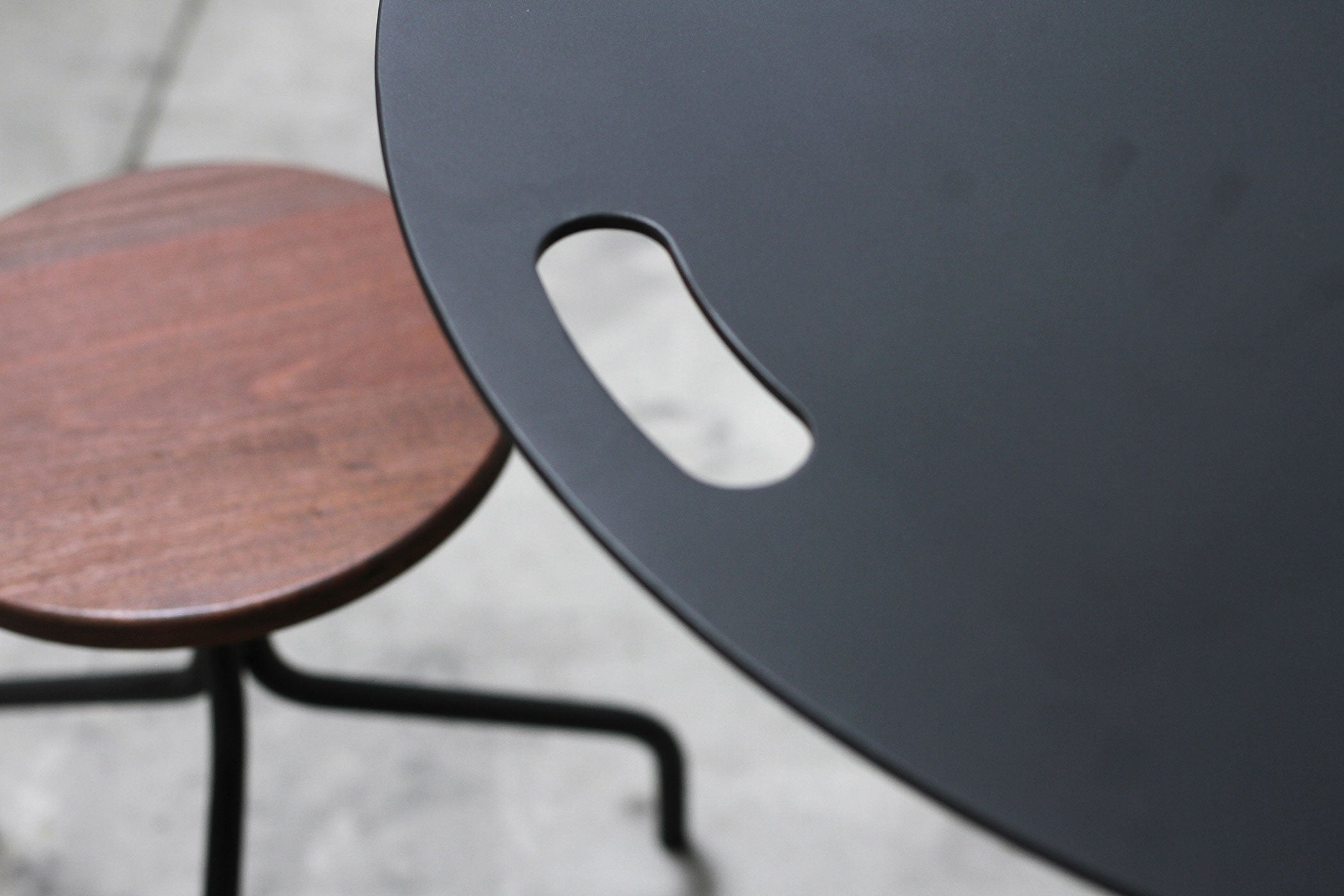 RAD Furniture's Round Wood-top Stool and Round Aluminium-top Round Cafe Table