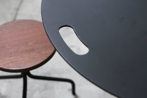 RAD Furniture's Round Aluminum-Top Cafe Table with Round Wood-Top Stool Detail