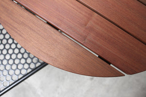 RAD Furniture's Slatted Wood Round Cafe Table with Perforated Cafe Chair