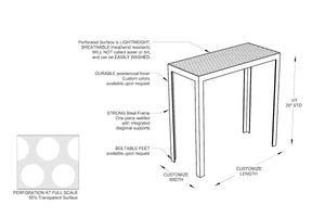RAD Furniture's Perforated Entry Table Diagram