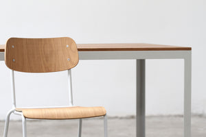 RAD Furniture's School Chair with White Oak and Solid Wood-top Dining Table