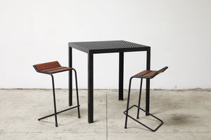 RAD Furniture's Slatted Wood Bar Stool with Perforated Bar-Height Dining Table
