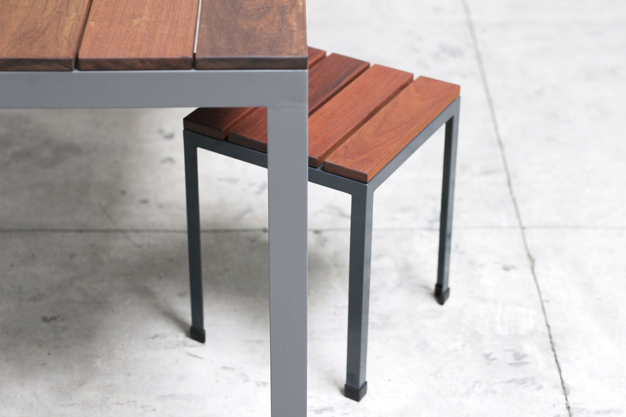 RAD Furniture's Slatted Wood Knockaround Stools with Slatted Wood-top Dining Table
