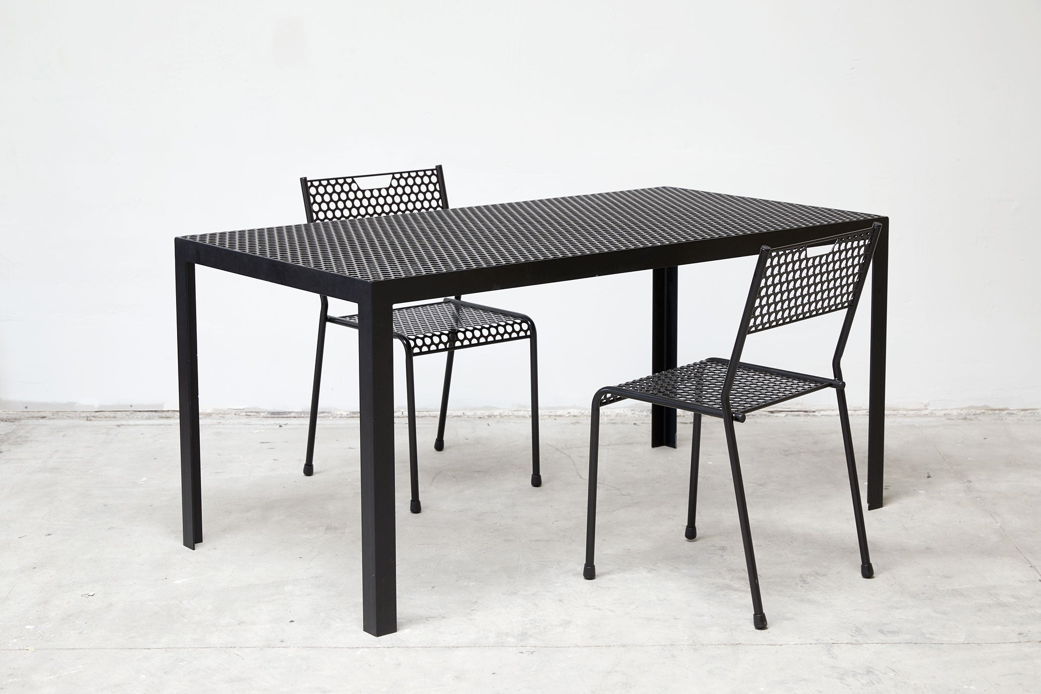 RAD Furniture's Perforated Dining Chair and Perforated Dining Table