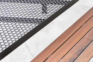 RAD Furniture's Slatted Wood Bench with Perforated Dining Table