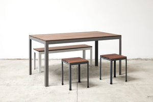 RAD Furniture's Slatted Wood Bench with Knockabout Stools and Wood-top Dining Table