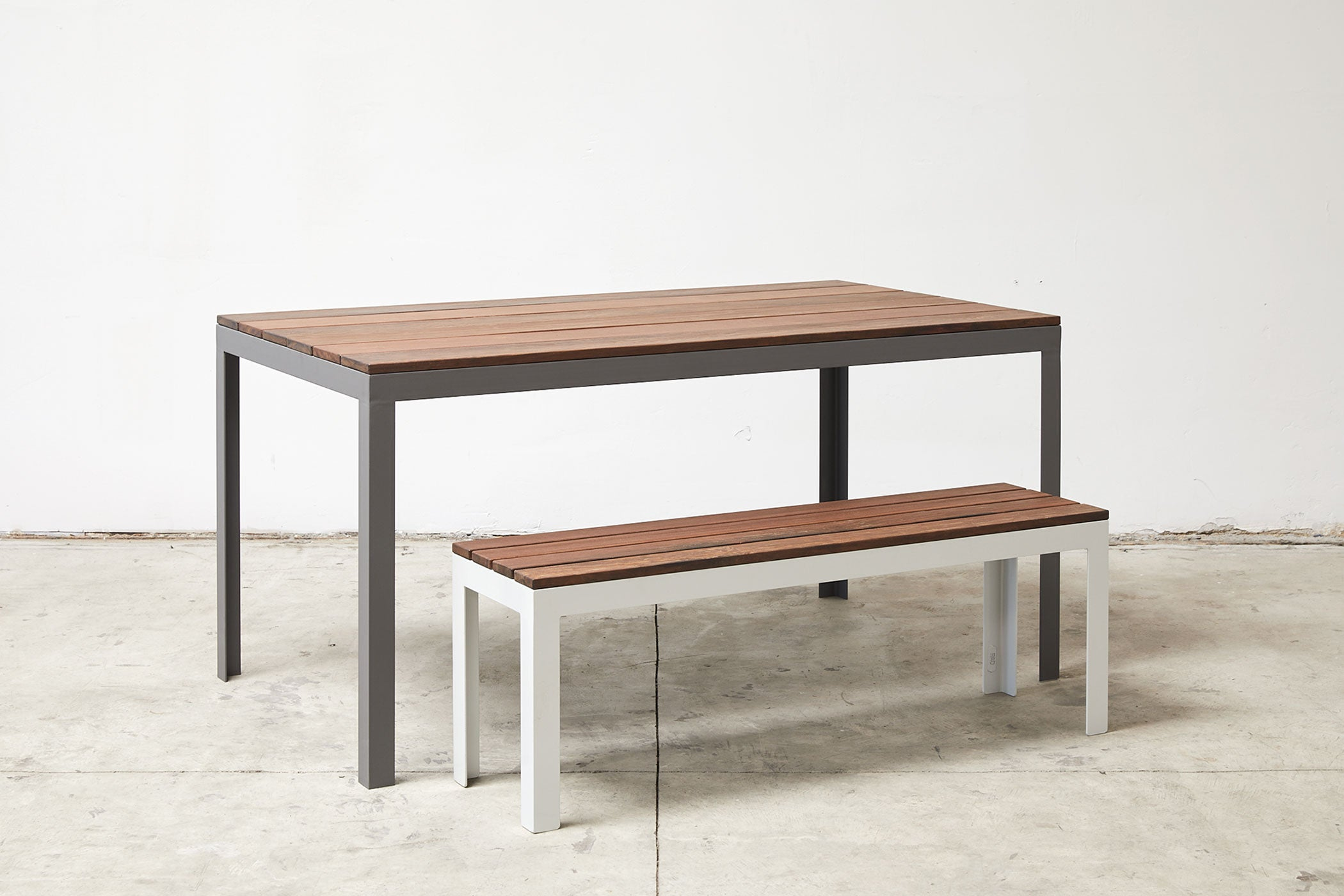 RAD Furniture's Slatted Wood Bench with Wood-top Dining Table
