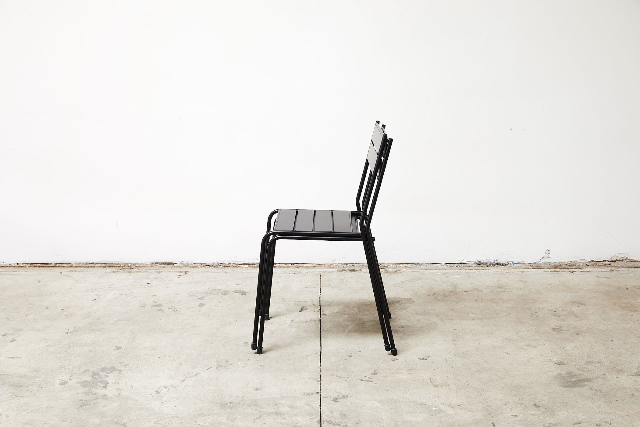 RAD Furniture's Slatted Steel Cafe Chair, Stacked