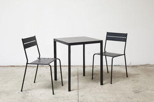 RAD Furniture's Slatted Steel Cafe Chairs with Solid Steel Cafe Table