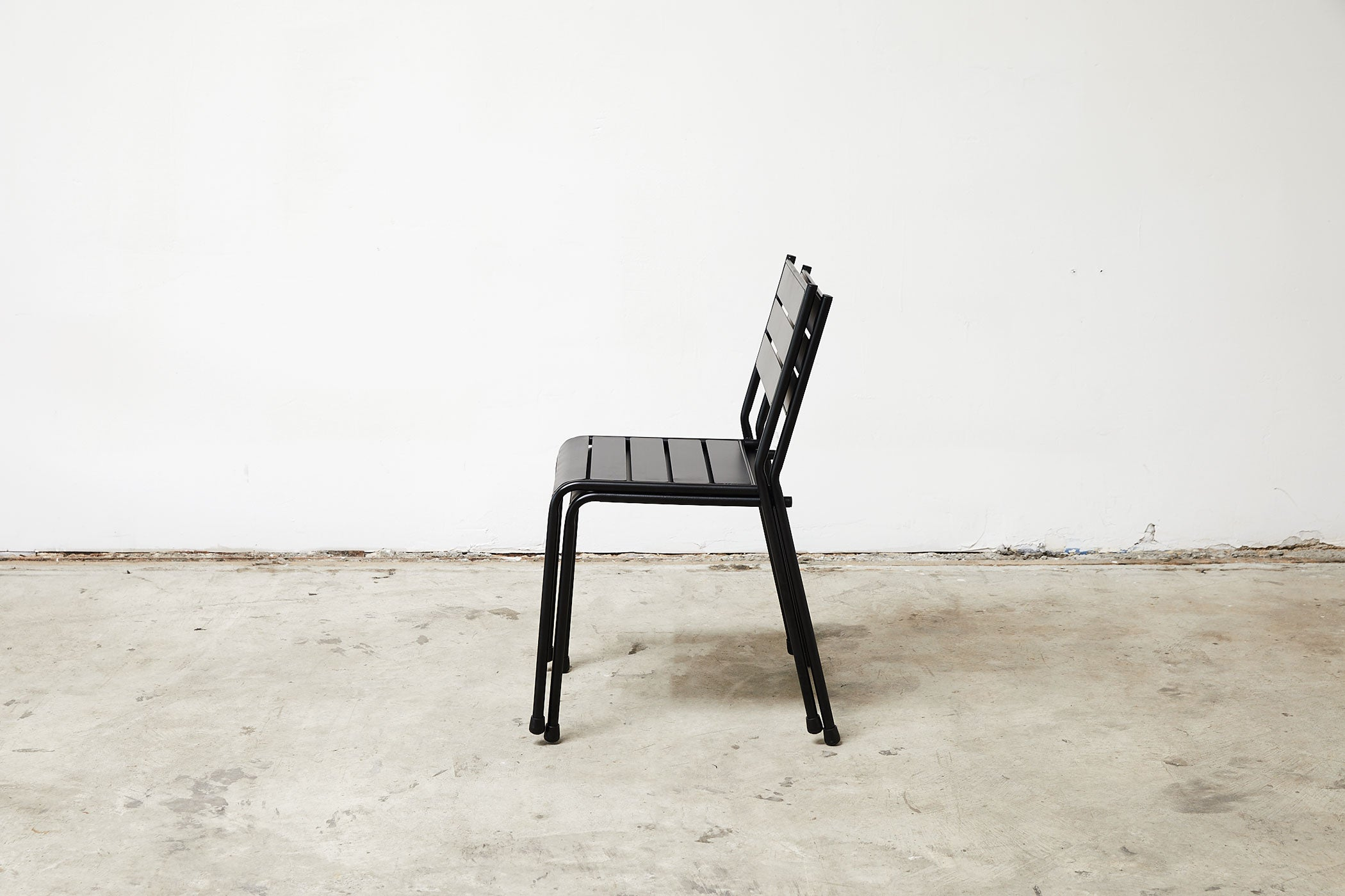 RAD Furniture's Slatted Steel Dining Chair, Stacked