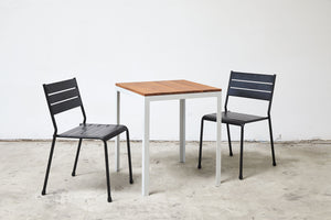 RAD Furniture's Slatted Steel Dining Chair with Solid Wood-Top Table
