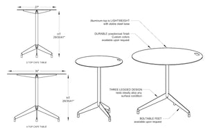 RAD Furniture's Round Aluminum-Top Cafe Table Diagrams