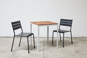 RAD Furniture's Slatted Wood Square Cafe Table and Slatted Dining Chairs