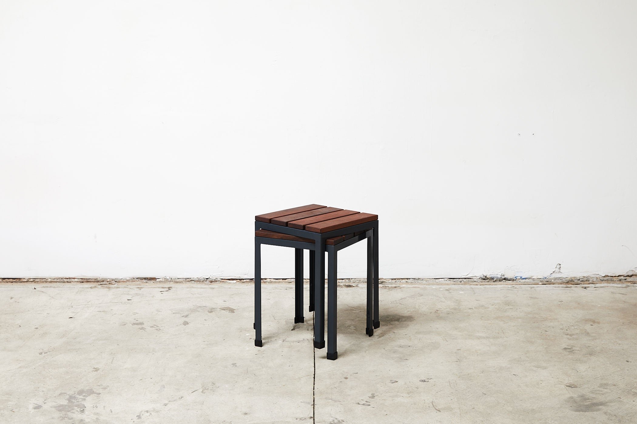 RAD Furniture's Slatted Wood Knockaround Stools - stacked