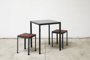 RAD Furniture's Slatted Wood Knockaround Stools and Perforated Dining Chair
