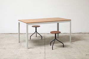 RAD Furniture's Round Wood-top Stool and Solid Wood-top Dining Table