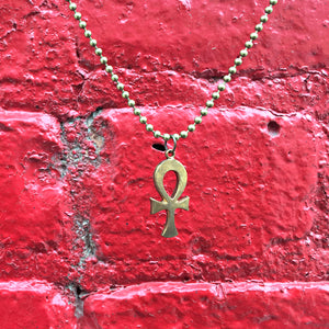 """On and On"" Brass Ankh Charm Necklace"