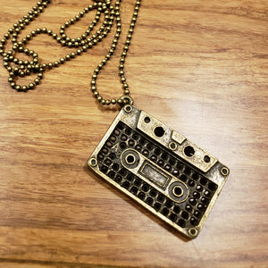 """You Can Get With This"" Brass Cassette Tape Charm Necklace"