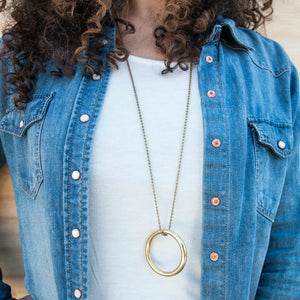 """In The Circle Game"" Brass Charm Necklace"