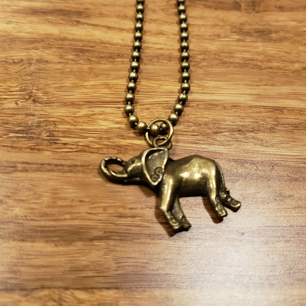 """In The Jungle"" Brass Elephant Charm Necklace"