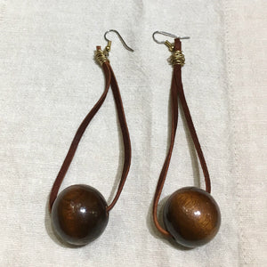 """Knock on Wood"" Hanging Leather + Wood Earrings"