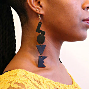 """Let Me Love You"" Hand-cut Black Leather Earrings"